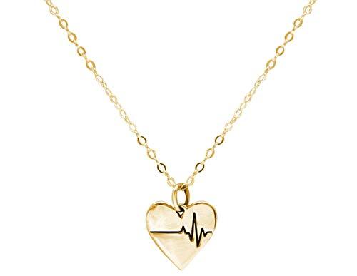Gemshine Halskette Herzschlag EKG Herzfrequenz für Doktor, Arzt, Krankenschwester, Biologe 925 Silber, vergoldet oder rose. Nachhaltig, qualitätsvoll, Made in Spain, Metall Farbe:Silber vergoldet