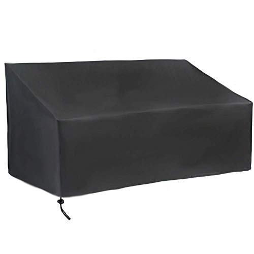 SEESEE.U Garden Bench Cover 2 Seater Outdoor Waterproof Long Chair Cover 420D Oxford Fabric Patio Furniture Cover with Drawstring Cord and Storage Bag Black (134x66x89cm)