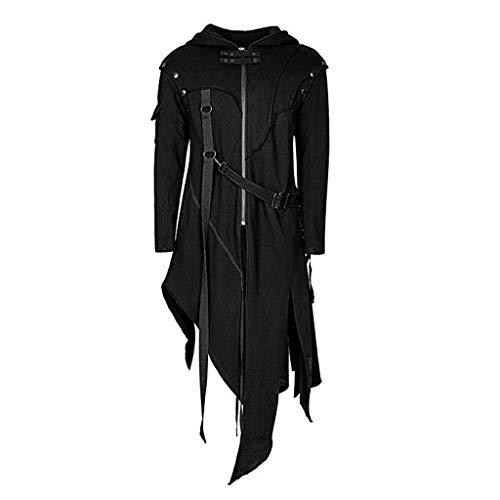 BIKETAFUWY Herren Winterjacke Gothic Umhang Vintage Cape Coat Oversize Mäntel,Herren Reißverschluss Asymmetrische Hoodie Jacke Mantel Retro Punk Style Party Outwear