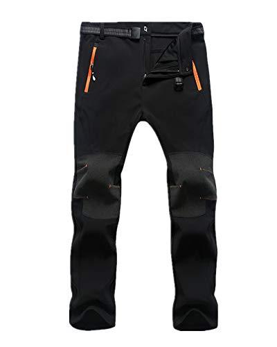 GAOJU Pantalones de Trekking Softshell Pantalones Impermeables Resistente al Viento Transpirable Pantalones de Escalada Lana Forrado