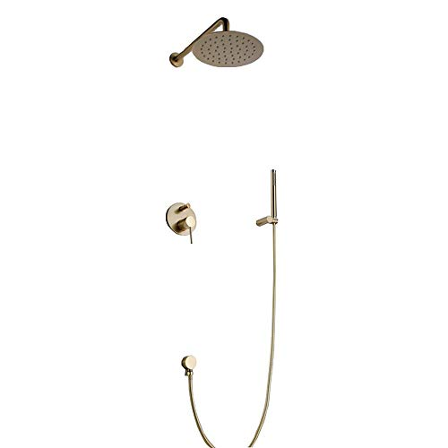 Lowest Price! JEHO Shower Faucet - Contemporary Brushed Gold Wall Mounted Ceramic Valve Bath Shower ...