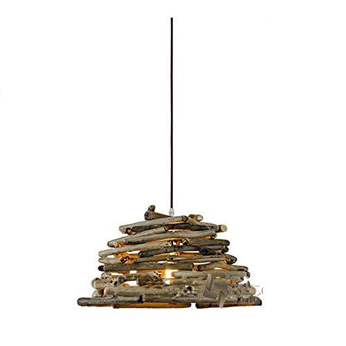 DKee Lámpallas Araña con Sombrero de Paja País Americano Retro Restaurante Bar Bar Cafe Personalidad Creativa lámparas de Hierro Forjado de una Sola Cabeza 420 (mm)