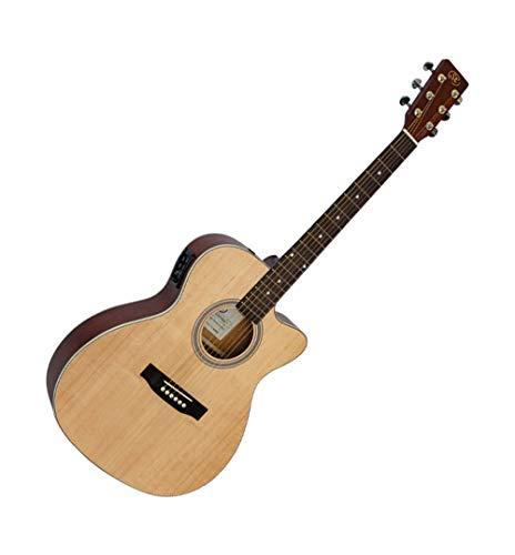 SX Guitarra electroacústica de cuerpo pequeño mate con acabado natural recortado eléctrico