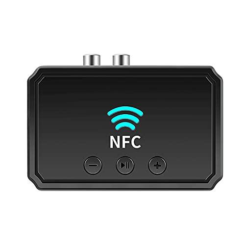 Adaptador Bluetooth 5.0 Receptor Transmisor Bluetooth NFC-BT Adaptador Audio Bluetooth RCA & 3.5mm AUX, Audio HD Baja Latencia Audio Estéreo para TV, PC, Cascos, Portátil Auriculares