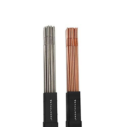 STAHLWERK Schweißstäbe Set ER70S-G3 Stahl & ER307Si Edelstahl hochlegiert/Ø 2,5/2,4 x 500 mm/je 1 kg WIG Schweißzusatz