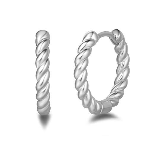 Damen Creolen Twist Klein Ohrringe aus 925 Sterling Silber mit Weiß Vergoldet Basic Minimalist Modisch Schmuck für Damen Mädchen - Durchmesser: 18 mm