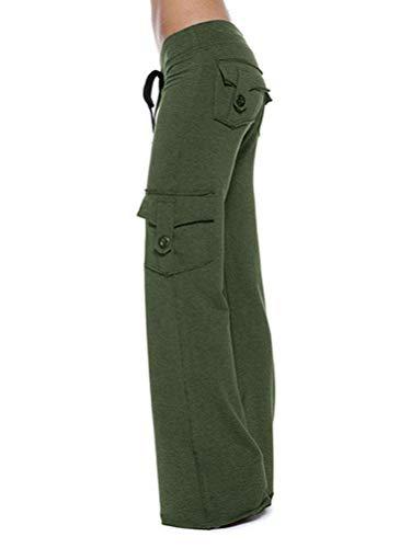 Onsoyours Femme Pantalon De Sport Multipoche Loose Pantalon De Yoga Taille Haute Hip Hop Sportswear Cargo Pantalon Jogging Vert Large