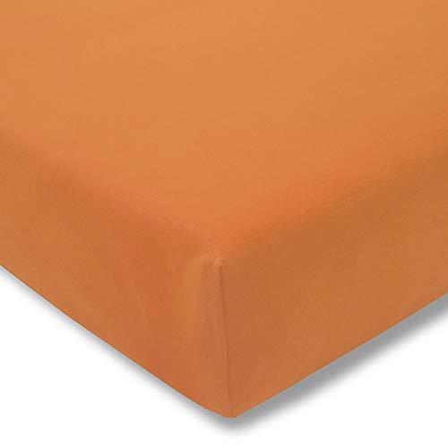 ESTELLA Spannbetttuch Zwirnjersey | Orange | 100x200 cm | passend für Matratzen 90-120 cm (Breite) x 200-220 cm (Länge) | trocknerfest und bügelfrei | 97% Baumwolle 3% Elastan