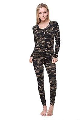 Women Thermal Underwear Set Outland; Base Layer; Soft Fleece; Top & Leggings (Camo, XXX-Large)
