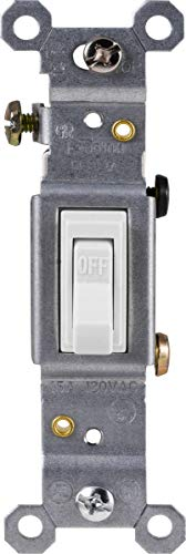GE Grounding Toggle Switch, Single Pole, In Wall On/Off Fan & Light Switch Replacement, 15 Amp, Great for Home, Office & Kitchen, UL Listed, White, 54161