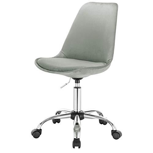 Silla de oficina giratoria ajustable de altura ajustable silla de escritorio silla de maquillaje sin brazos silla de terciopelo silla de computadora para el hogar, oficina o dormitorio