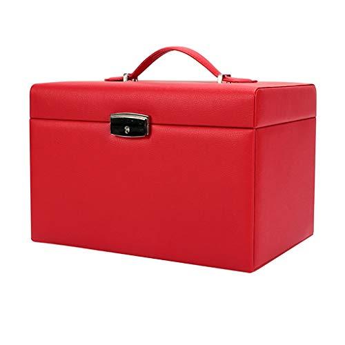 WXIANG Joyero portátil de gran capacidad, organizador de joyas, cajones, anillos, collar (color: rojo)