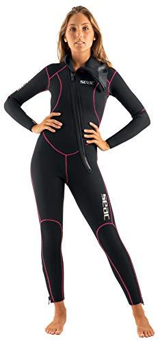 Seac Resort Lady 5.0, Neoprenanzug 5 mm, einteilig mit Reißverschluss vorne und Kapuze, Damen, schwarz, L