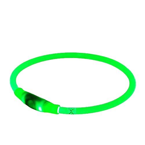 Uniquelove Collar Led para Perro Mini USB Recargable Collares para Perro con Luz Collares para Perro Básicos Resistentes Al Agua para Perros Pequeños Medianos Grandes - Luz Verde 70Cm