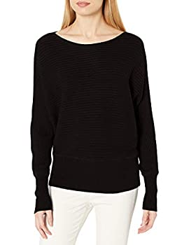 Amazon Brand - Daily Ritual Women s Ultra-Soft Horizonal Knit Dolman Sweater Black Medium