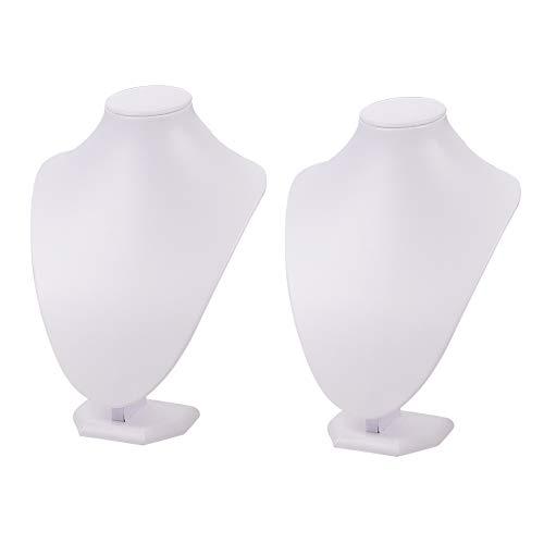 PandaHall 2 Pezzi Bianco Collana Di Gioielli Display Busto Stand Con Legno E Cartone 25X17Cm