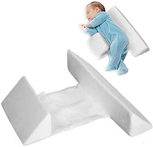 Baby Side Sleeper Wedge Baby Anti roll pillowThe 45° Inclined Triangle Support Design Will not spit or Choke Milk,Removableandwashable/Adjustable/with Hidden zippersuitable for 0~3 Years Old