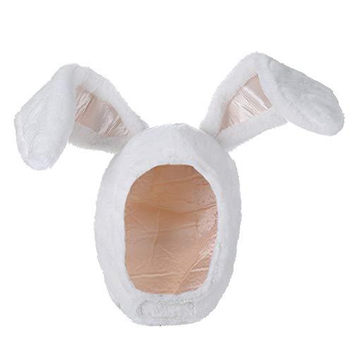 BOBILIKE Plush Fun Bunny Ears Hood Women Costume Hats Christmas Gift-Warm, Soft and Cozy, White