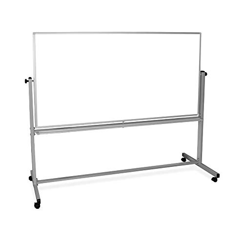 Luxor 72'W x 48'H Rolling Reversible Dry Erase Double-Sided Magnetic Whiteboard with Aluminum Frame and Marker Tray - 1 Pack, Perfect for School, Classroom, Conference and Presentation