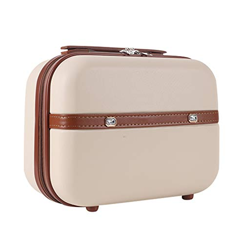 Lzttyee Mini Fashion Hard Shell Makeup Cosmetic Case Portable Suitcase Travel Luggage (Beige)
