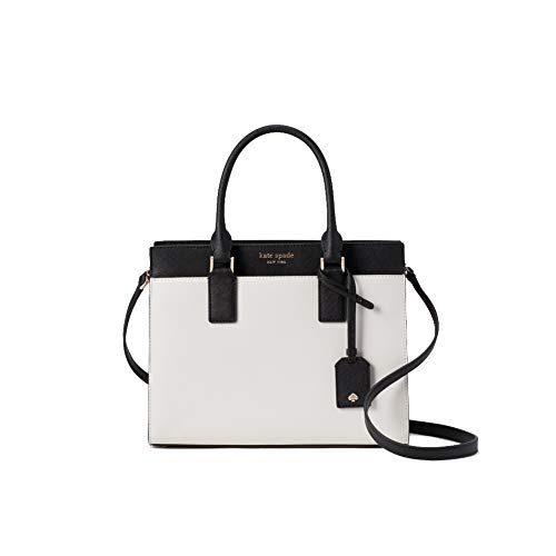 Kate Spade New York Cameron Medium Satchel Purse (Bright White/Warm Beige/Black)