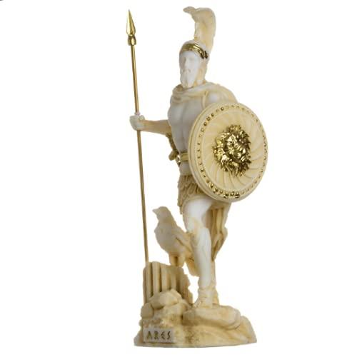 BeautifulGreekStatues Ares Mars Gott des Krieges Zeus Son Römische Statue Alabaster Goldton 16 cm