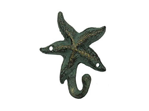 Hampton Nautical Decorative Cast Iron Starfish Wall Hook, Antique Bronze