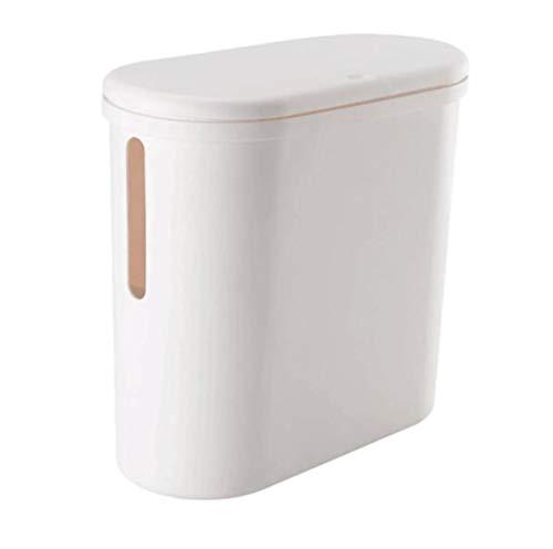 Toho Slim Cesta estrecha para baño o cocina con tapa Press de plástico cepillado puede moderna cesta de residuos rectangular, blanco
