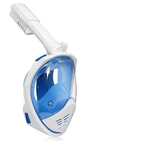 Leucothea Máscara de snorkel de cara completa 180° de visión amplia Equipo de buceo Respiración libre Correa de cabeza ajustable Tecnología de niebla antiempañamiento con montaje de cámara extraíble y tubo de respiración plegable (Lente arco, azul S/M)