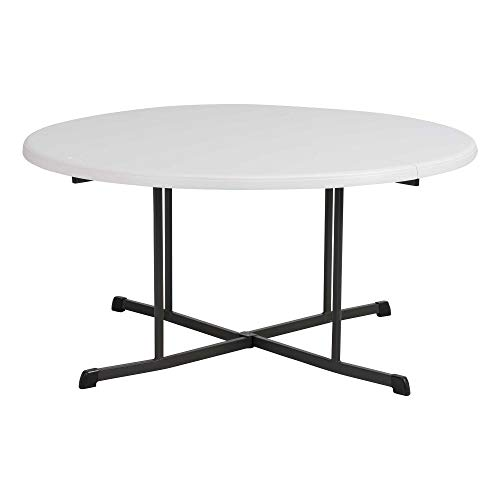 Lifetime Commercial Round Fold-in-Half Table, 60-Inch, Almond
