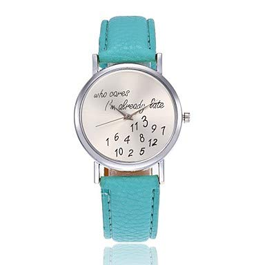 Fashion Watches Relojes Hermosos, Mujer Reloj de Pulsera Cuarzo Palabra Fresca/Frase Reloj Casual Piel Banda Analógico Moda Negro/Blanco / Rojo - Rojo Rosa Verde Claro (Color : Rojo)