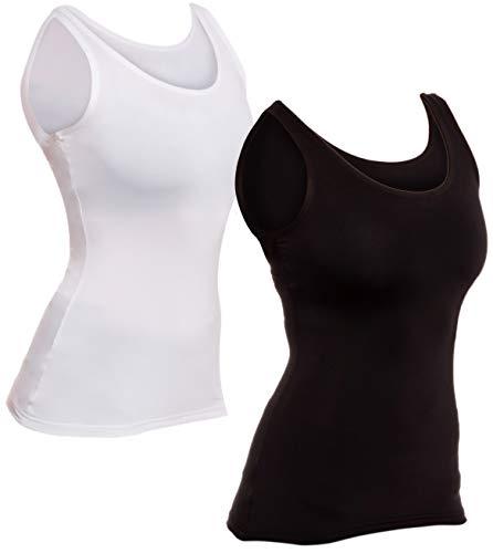 LISH - playera sin mangas de compresión para mujer (2 unidades), Negro/Blanco, L