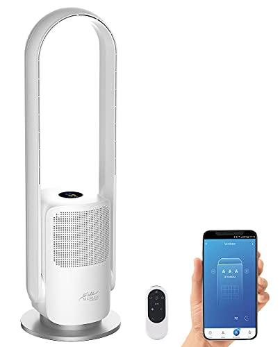 Sichler Haushaltsgeräte Design-Luftreiniger: Rotorloser 2in1-360°-Ventilator & Luftreiniger, WLAN, App, HEPA, 35 W (Luftreiniger Ionisator UV)