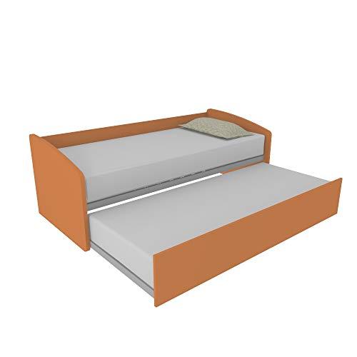 MOBILFINO CAMERETTE Schlafzimmermöbel 600 geformtes Schlafsofa mit herausnehmbarem Zweitbett. Unabhängig und hochklappbar für Doppelbett, inklusive Lattenroste Made in Italy