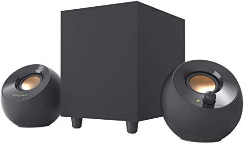 Altavoces de ordenador Creative Pebble Plus 2.1 potenciados por USB con Subwoofer con salida inferior y Controladores de largo alcance, potencia total de hasta 8 W RMS para ordenadores (Negro)