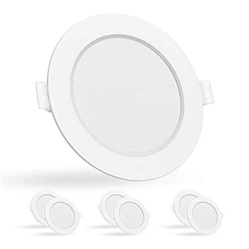 Aigostar - Slim Downlight LED Techo, 15W Equiv a 140W. 1200LM, 4000K, CRI> 80, 230V. Ojos de Buey LED para Techo. No Requiere Transformador. Pack 6 uds focos empotrables led [Clase energética A +]