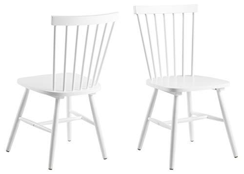 AC Design Furniture 63658Silla de Comedor Susanne, Rubberwood, 2Unidades, Color Blanco Lacado