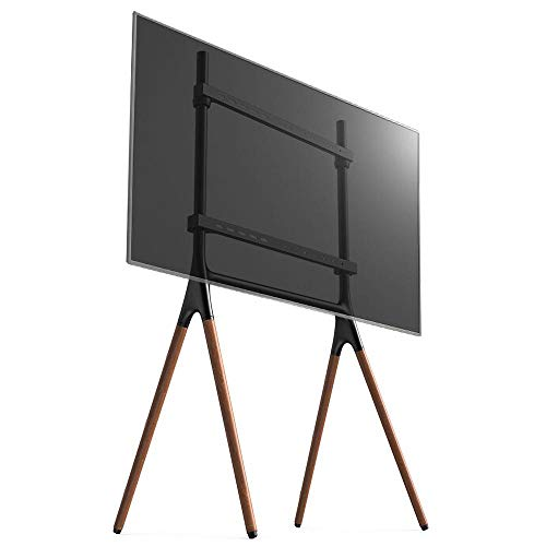 dehong Wood Swivel Tilt TV Floor Bracket for 45—65 Inches TVs,Yellow TV Floor Bracket Up to 32KG Tilting Height Adjustable,Max VESA 600x400mm