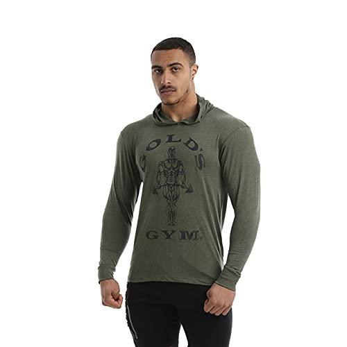Golds Gym Manches Longues à Capuche Royaume-Uni Hommes T-Shirt, Noir Marl, 2XL