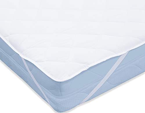 Style Heim Matratzen Topper Auflage Matratzenschoner 160x200 cm für Bett und Boxspringbett Quadratsteppung Atmungsaktive Microfaser Matratzenauflage Matratzentopper Nässeschutz, Weiß