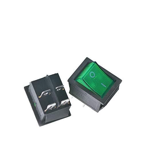 JSJJAYH Interruptor basculante Rocker Interruptor On-Off 4 Pin / 6 Pin con Interruptor de la lámpara 16A 250V 31x25mm Interruptor de alimentación Equipo eléctrico Accesorios