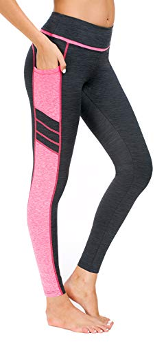 Flatik Damen Netzoberfläche Sport Gym Yoga Laufen Fitness Leggings Hose, Grau Pink(long Hosen), M
