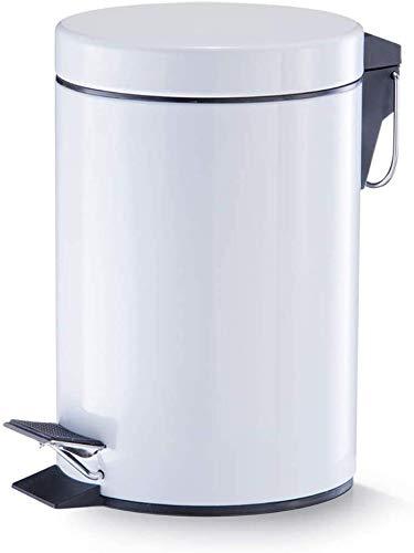 TIENDA EURASIA® Cubo de Basura con Pedal, Acero Inoxidable, Acabado Blanco Brillo. Disponible en Varios tamaños. Ideal para Cocina, Baño, Salón. (5L)