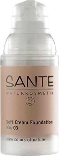 SANTE Naturkosmetik Soft Cream Foundation No. 03 sunny beige, Samtig, ebenmäßiger Teint, Mit Mineralpigmenten, Cremige Textur, Vegan, 30ml
