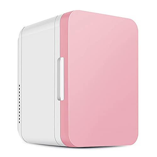 Mini Refrigerador de 8 litros (5 Colores a Elegir) con Puerta de Cristal, para Dormitorio, Oficina, Hogar, Frigorífico Compacto AC/DC, para Bebidas, Cosméticos, Cerveza,Rosado