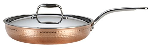 Lagostina Q5549964 Martellata Tri-ply Hammered Stainless Steel Copper Dishwasher Safe Oven Safe Skillet / Fry Pan Cookware, 12-Inch, Copper