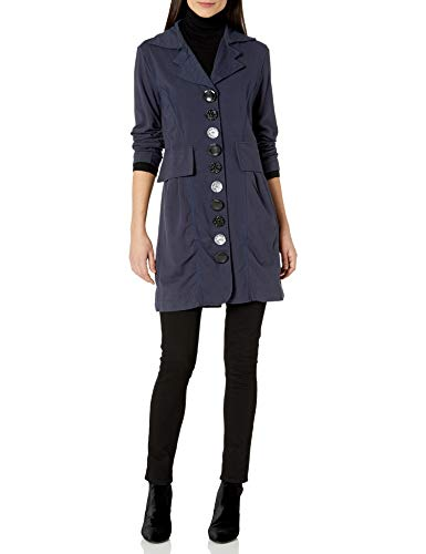 Neon Buddha Women's Lightweight Cotton Jacket Female Long Blazer with Contrasting Buttons and Pockets,Navy,Large