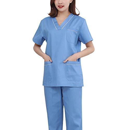 PRETYZOOM Conjunto de Matorrales Mdicos del Hospital Ropa de Hospital Ropa de Enfermera de Seguridad Bata de Proteccin Mdica para Mujer Ropa Quirrgica para Uso de Primeros Auxilios Talla M