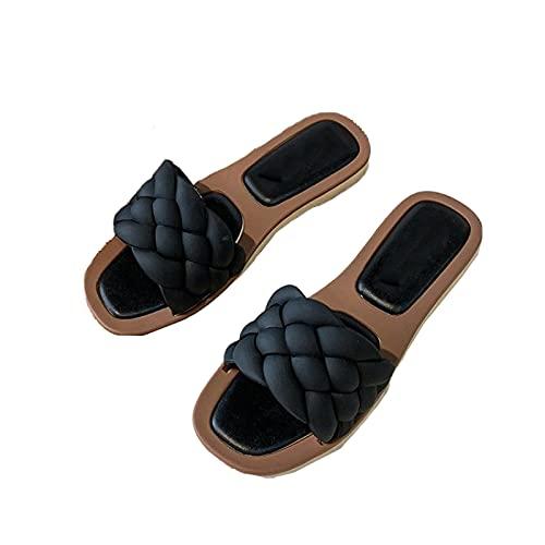 Sandalias de Punta Cuadrada para Mujer, Verano Sexy Estilo Diario Tejido de Cuero Tacón Plano Ligero Cómodo Deslizador Adaptable Zapatillas de Playa,Black-36