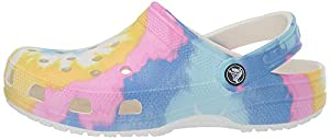 CROCS CLASSIC TIE DYE CLOG: Timeless, fun and full of peaceful good vibes, the bright tie dye Crocs for men and women add the perfect groovy statement to any style ICONIC COMFORT: From downtime to downtown, these mule clogs are flexible and made of C...
